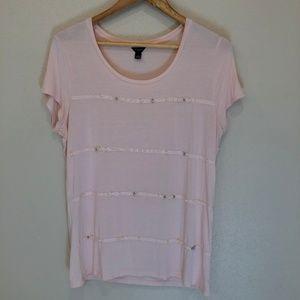 Ann Taylor Pink Embellished Pearl Rhinestone Tee L
